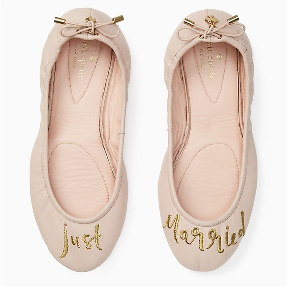 "fd83dc9ff686 kate spade Shoes - Kate Spade Gwen Ballet Flats "" Just Married"""